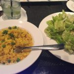 Caesar salad and risotto